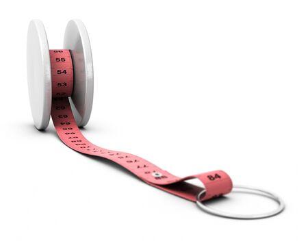yo: yoyo and pink tape measure concept of diet problems, yo yo effect, white background blur effect