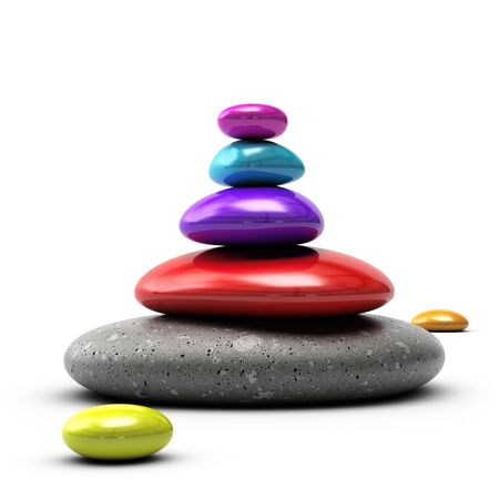 zen like: colorful pebbles stacked over white background with purple, blue, red and grey colors Stock Photo