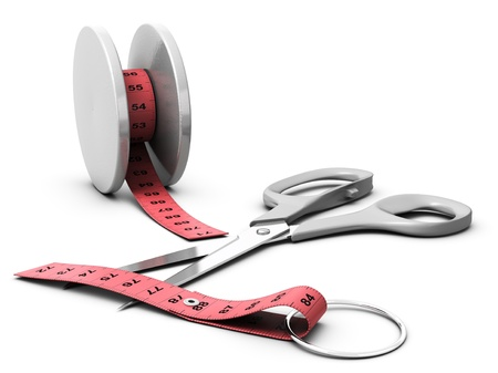 yoyo, pink tape measure and scissors, concept of diet problems, yo yo effect, white background blur effect