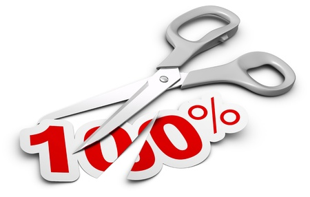 cut price: scissors and 100 percent label cutted in two parts, symbol of discount Stock Photo