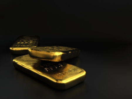 ingots: physical gold bullions ingots, golden bars over black background with room for text Stock Photo