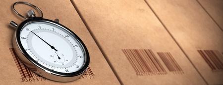 competitividad: cronómetro sobre un fondo de cartón con códigos de barras. efecto de desenfoque, formato de banner horizontal Foto de archivo