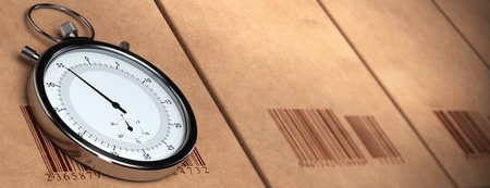 competitiveness: stopwatch over a carton background with barcodes. blur effect, Horizontal banner format