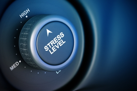 managing: stress level button with low, medium and high word, black and blue background Stock Photo