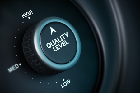 quality level button with low, medium and high positions, button is positioned in the highest position, black and blue background, blur effect Stock Photo - 15353355