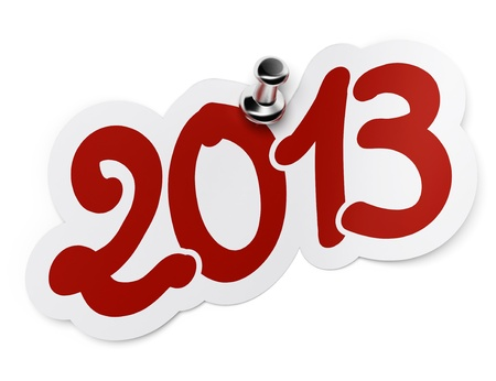 two thousand: 2013 red sticker fixed onto a white background by using a thumbtack  Stock Photo