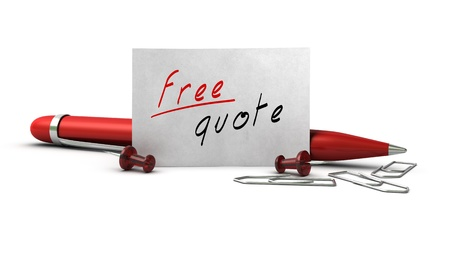 quotes: Free quote message handwritten onto a white business card, there is a ball point pen, paperclips and thumbtack Stock Photo