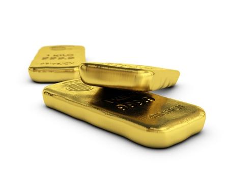 lingotes de oro: lingotes físicos lingotes de oro, barras de oro sobre fondo blanco con espacio para texto Foto de archivo