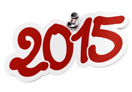 thousand: 2015  two thousand fifteen  red sticker fixed onto a white background by using a thumbtack