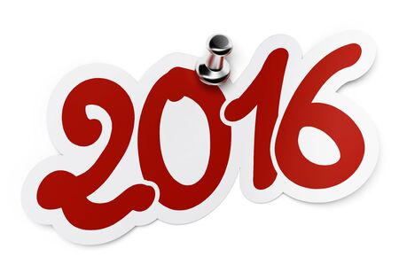 two thousand: 2016  two thousand sixteen  red sticker fixed onto a white background by using a thumbtack  Stock Photo