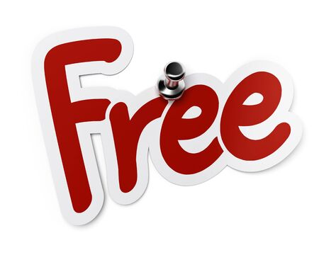 freebie: free red sticker fixed with a thumbtack over white background Stock Photo