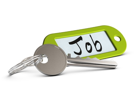 keyring: key and green keyring where it is written the word job over white background