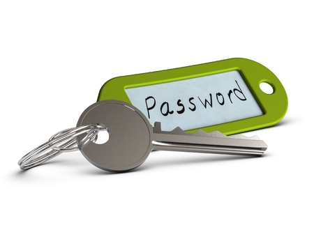 secrecy: key and green key ring withe the word password handwritten on a paper, image over white background Stock Photo