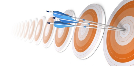 Many orange targets in a row, three blue arrows hits the first one in the center, white background Stock Photo - 15772453
