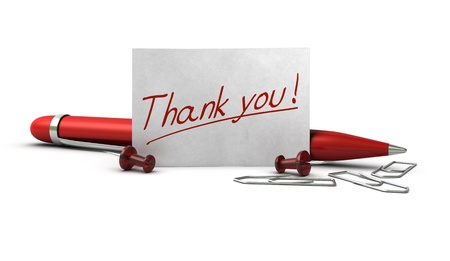 thanking: Word ,thank you written onto a paper card with a red ballpoint pen, thumbtack and paperclips, image over white background Stock Photo