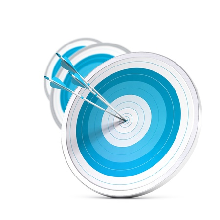 many blue targets and three arrows reaching the center of the first one, image with blur effect, square format   Strategic marketing or business competitive advantage concept  photo