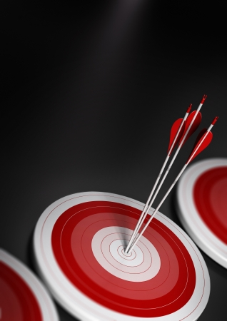 many blue targets and three arrows reaching the center of the first one, image with blur effect, A4 vertical format   Target market, strategic marketing or business competitive advantage concept Stock Photo - 15826114