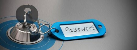 key and blue key ring withe the word password handwritten on a paper, grey aluminum background, horizontal image, concept for internet security Stock Photo - 15826112