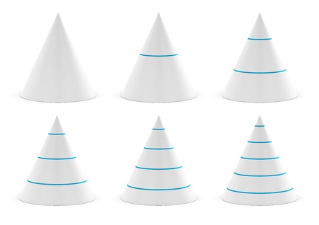 three layered: set of cones for data presentation with different levels, blue separator, graphics over white