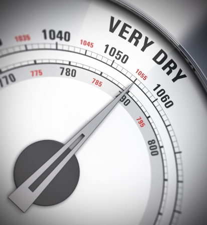 barometer: close up of a barometer with the pointer pointing on the word very dry, blur effect, red and gray colors