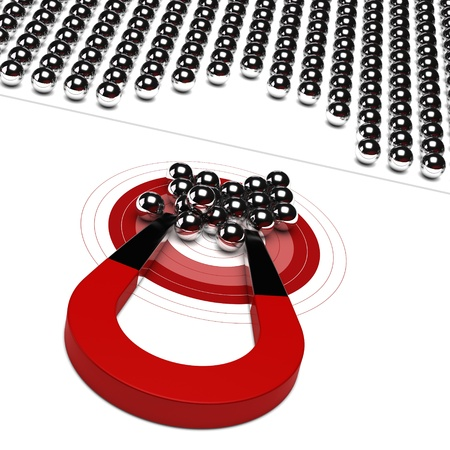 prospect: horseshoe magnet with metal ball and red target, symbol of market audience
