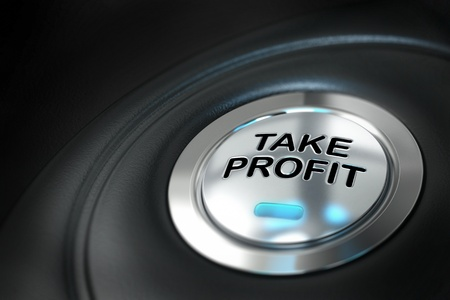 take: take profit button over black background with blur effect, market investment, conceptual image