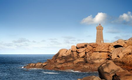 cote de granit rose: ploumanach, mean ruz lighthouse, brittany