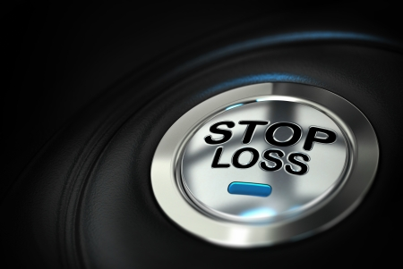 stop loss button with blue led over black background, finance concept photo