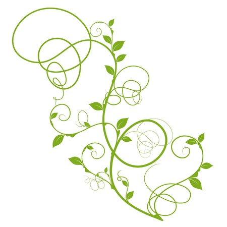 Simple Floral Design Green Silhouette For Decorative Background Over White Stock Vector