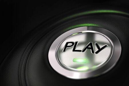 gaming: automobile button with play word over black background Stock Photo
