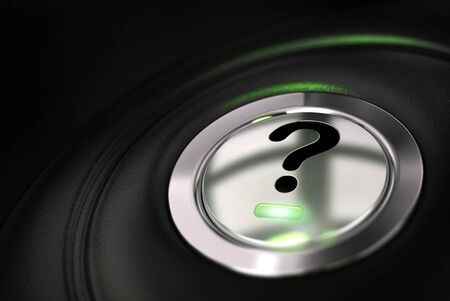 automobile button with question mark symbol over black background Stock Photo - 16432575