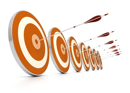 many orange targets in a row plus seven arrows, each arrows hit the center of one target, image over white background,   Stock Photo
