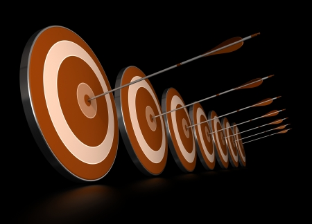 many orange targets in a row plus seven arrows, each arrows hit the center of one target, image over black background,   photo