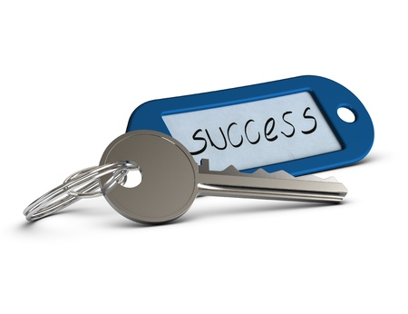 keyring: key with blue keyring where it