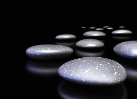 vision futuro: muchos guijarros en una fila sobre fondo negro con la reflexión, frontera decorativa