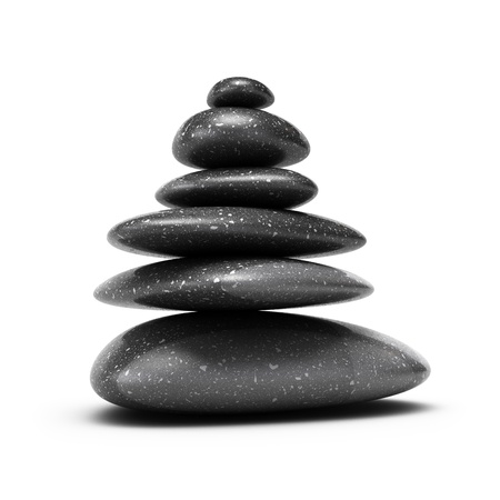 six pebbles stacked over white background with shadow Stock Photo - 16432573