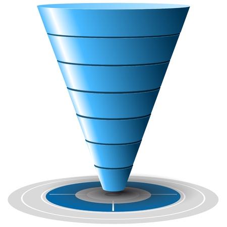 Conversion ou Sales Funnel facilement personnalisable, de 1 à 7 niveaux plus sur la cible, graphiques vectoriels tons bleus Vecteurs