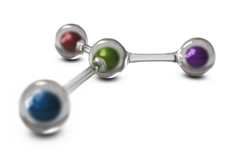 intercommunication: glass balls connected together with color spheres inside, 3d rendering over white background  Stock Photo