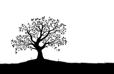 zwart wit tekening: Vector boom silhouet, bloemen en gras, zwart en wit vectoriële vorm,
