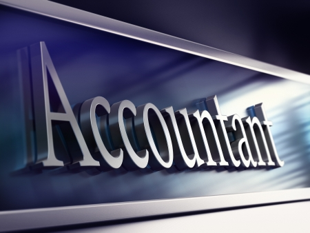 accountancy: word accountant written onto a company plaque, perspective view, blue tones and blur effect  Stock Photo