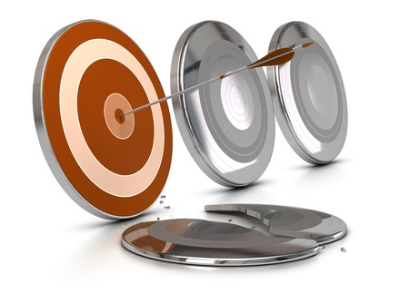 orange target protected by metal armors, one of the metal armor is broken by an arrow, the others are entire, image over white background, concept of overcoming difficulties or problems. Stock Photo - 16592541