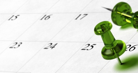 room for text: green pushpin pointing on the number 26 of a calendar with room for text at the left side of the image Stock Photo