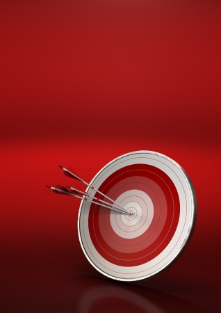 bull     s eye: three arrows hitting the center of a red dart, vertical 3d render image with red background