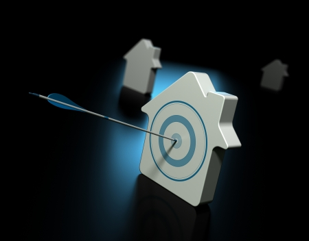 Three houses over black with blue reflection, the first house is pierced by an arrow in the center of the target, the other properties at the background are blurry, symbol of real estate and property search