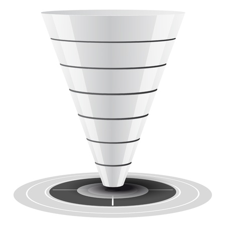 Conversie of sales funnel gemakkelijk aan te passen, van 1 tot 7 niveaus plus op doel, vector graphics witte en grijze tinten Vector Illustratie
