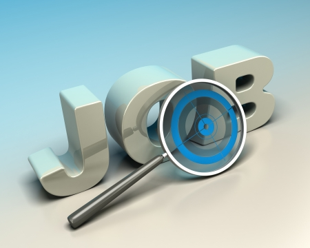 finder: word job written with 3d letters onto a blue and baige background with a magnifier including a blue target