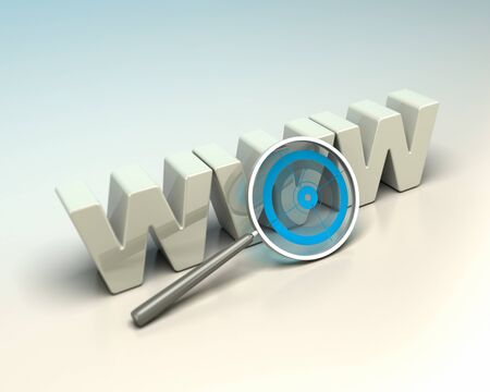 glossy WWW 3D letters written onto a blue and beige background with a magnifier including a blue target  Symbol of search engine optimization Stock Photo - 16803469