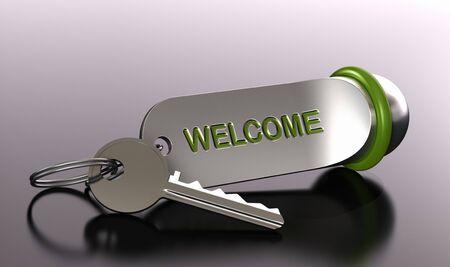 reservacion: llave y llavero de un hotel con la palabra bienvenida sobre fondo gris con efecto de desenfoque - profundidad de campo
