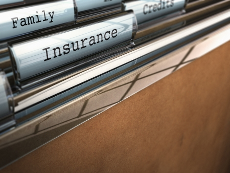classifying: focus on the word insurance written onto a folder with the word family on the background, blur effect and room for text at the bottom Stock Photo