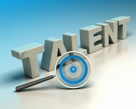 Word talent geschreven met 3d brieven op een blauw en beige achtergrond met een vergrootglas met een blauwe doelwit symbool van headhunter